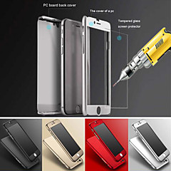 Luxury Gold Hard PC Case Clear Glass Film Metal Back Cover Coverage 360 Degree For iPhone 6 /iPhone 6S 4.7