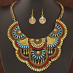 European Style Fashion Metal Exaggerated Imitation Gemstones Luxury Necklace Earrings Set