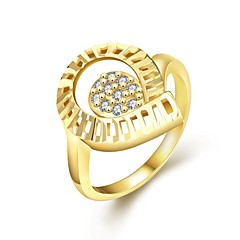 Fashion Simple  Female Diamante White Zircon Gold-Plated Statement Rings(Golden,Rose Gold,)(1Pcs)