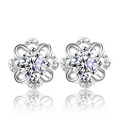 Lureme®  Korean Fashion Sweet 925  Sterling Silver  Lovely Flower  Hollow Out Earrings