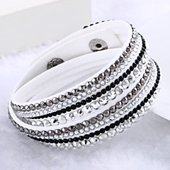 Lureme®Fashion Leather Women's Multilayer Crystal Bracelets Jewelry