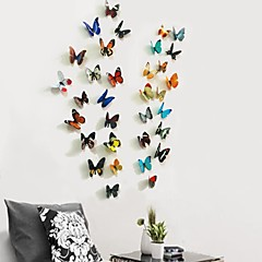 3D 38 Pcs Set of 2 Emulational Butterfly PVC Wall Stickers Wall Art Decals with Sticks