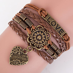 Men's Brown Love Peandent Braided/Cord Leather Handmade Multilayer Charm Bracelet Unisex Christmas Gifts