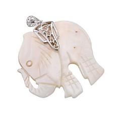 European Style Animal Shape Alloy Elephant Pendant(White)(1Pc)