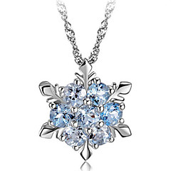 Lureme®Korean Fashion 925  Sterling Silver  Crystal Delicate Snowflakes  Pendant Necklace