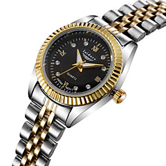 Dames Modieus horloge Kwarts Waterbestendig Roestvrij staal Band Goud Merk-