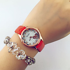 Women's Fashion Style Diamond Heart Leather Band Quartz Analog Wrist Watch Cool Watches Unique Watches