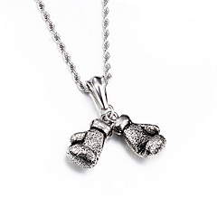 Western&American Popular Jewelry 316L Stainless Steel Good Quality Double Power Boxing Fists Pendant Necklace For Men