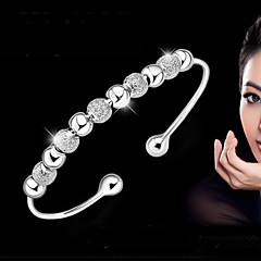 S925 Pure Stering Silver Ball Beads Bangle Bracelet Jewelry