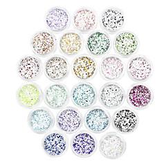 24 Color Hexagon Snow Sequin Nail Art Decorations