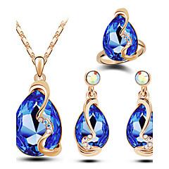 Női Ékszer készlet Divat luxus ékszer jelmez ékszerek Osztrák kristály Ötvözet Lógó Nyakláncok Naušnice Gyűrűk Kompatibilitás Esküvő