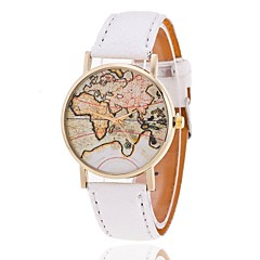 Damers Modeklocka Quartz World Map Mönster PU Band Armbandsur Svart / Vit / Brun