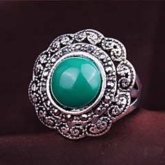 Women's Luxurious Palace Exaggerated Style Flower Shape Alloy Diamond Gem Ring 01