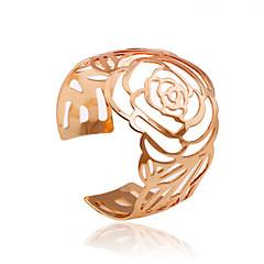 Dame Manchetarmbånd minimalistisk stil Hul Legering Blomstformet Rose Gylden Smykker For Fest Daglig Afslappet 1 Stk.
