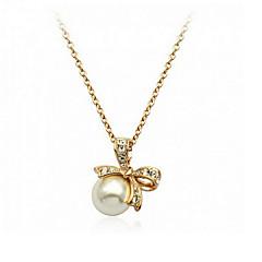 Women Necklace ELegant Crystal Imitation Pearl Bowknot Pendant Necklace