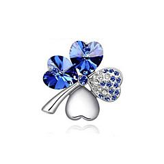 de alta qualidade nova moda de ouro / prata banhado de cristal austríaco elegante de quatro folhas broches coração trevo jóias pinos