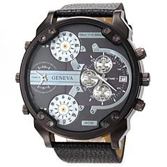 Men's Military Four Time Display Leather Band Quartz Wristwatch Wrist Watch Cool Watch Unique Watch Fashion Watch