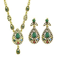Colorful Rhinestone Necklace Earrings Stone Jewelry Set