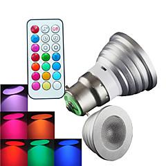 1 pcs SchöneColors B22 4W High Power LED 300LM RGB Dimmable / Remote-Controlled / Decorative LED Spotlight AC 100-240 V