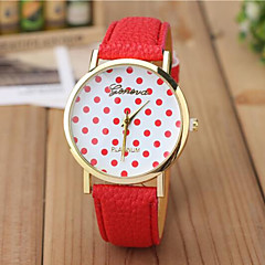 Unisex Fashion Watch Color Polka Dot PU Leather Quartz Watches In Geneva Cool Watches Unique Watches Strap Watch