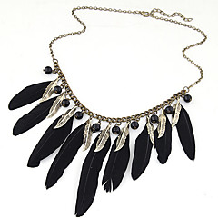Women's New Fashion Popular Charm Bohemian  Black Feather Tassel Alloy Chain Statement Necklace