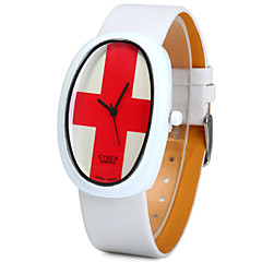 Unisex Swiss Flag Pattern Japan Quartz Watch Leather Band Oval Dial Wristwatch Cool Watches Unique Watches