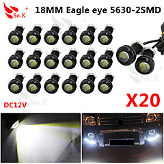 20 X 9W LED Eagle Eye Light Car Fog DRL Daytime Reverse Backup Parking Signal black 12V