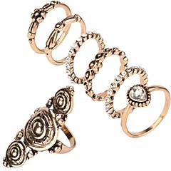 New Bohemia Vintage Jewelry Unique Carving Tibetan Gold Color Midi Ring Set for Women 7PCS/Set Punk Boho Ring Sets