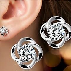 Dames Oorknopjes Birthstones Geboortestenen Eenvoudige Stijl Bruids Kostuum juwelen Sterling zilver Bloemvorm Sieraden Voor Bruiloft