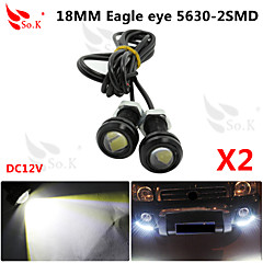 2X 9W LED Eagle Eye Light Car Fog DRL Daytime Reverse Backup Parking Signal black 12V