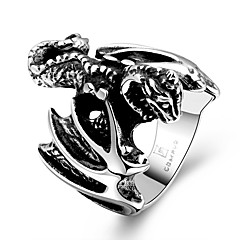 Unique Individual No Decorative Stone Men's Stoving Varnish Dinosaur Stainless Steel Ring(Black)(1Pc)
