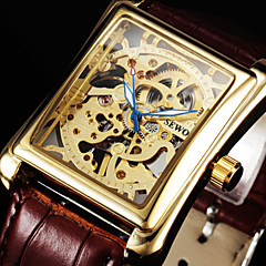 SEWOR Men's Square Gold Dial Black Leather Band Manual Mechanical Skeleton Wrist Watch(Assorted Color) Cool Watch Unique Watch