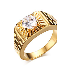 Superfine Zirconium Drill 316 Gold-plated Pure Steel Men's Gold Ring