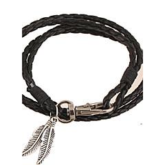 Læder Armbånd Mode Folk Style Håndlavet Europæisk Læder Bladformet Sort Brun Rød Grøn Blå Smykker For Fest