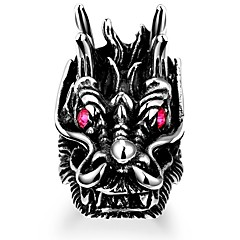 Maya Classical Generous Men's Red Diamante Head of Eagle Dragon Stainless Steel Ring(Black)(1Pcs)