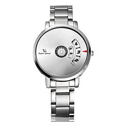 V6 Heren Polshorloge Unieke creatieve horloge Kwarts Roestvrij staal Band Zilver