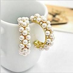 Kolczyki na sztyft Kolczyki koła luksusowa biżuteria Perłowy Imitacja pereł Cyrkonia sztuczna Diament Stop Circle Shape Kolor ekranu