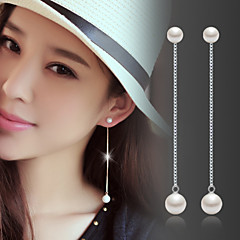 Lureme®  Korean Fashion 925  Sterling Silver Tassels Pearl Earrings