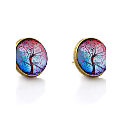 Lureme® Vintage Jewelry Time Gem Series Colorful Tree of Life Antique Bronze Disc Stud Earrings for Women and Girls