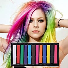 12 lápices de colores de color tiza temporal para el cabello pasteles tintes capilares no tóxicos se adhieren herramientas de estilo de