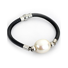 Lureme® Elegant Style Natural Pearl Leather Chain Magnet Clasp Bracelets for Women Jewelry