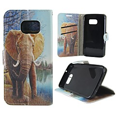 For Samsung Galaxy etui Kortholder / Pung / Med stativ / Flip / Mønster Etui Heldækkende Etui Elefant Kunstlæder SamsungS7 / S4 / S3 Mini