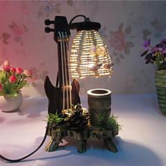 kreativa trä fiol med penna container dekoration skrivbordslampa sovrummet lampa gåva för unge