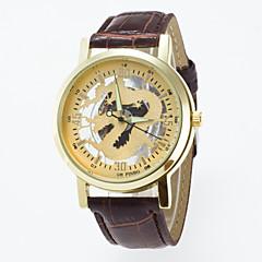 Men's Women's Unisex Skeleton Watch Quartz PU Band Black Brown