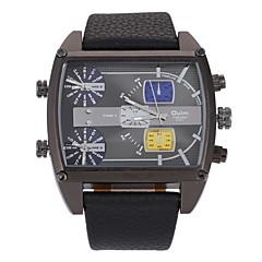 Herren Beobachten Quartz Militäruhr Drei-Zeit-Zonen Leder Band Armbanduhr