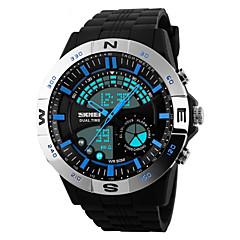Męskie Sportowy Zegarek na nadgarstek Kwarcowy LED Kalendarz Chronograf Wodoszczelny Dwie strefy czasowe alarm PU Pasmo CzarnyCzerwony