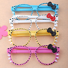 1PC Creative Stationery Cute Cartoon Glasses Ballpoint Pen Advertising Gift Pen Students Prizes(Random color)