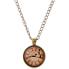 Lureme® Time Gem Series Clock with Dancer Disc Pendant Charm Necklace for Women and Girl