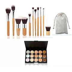 11pc bambu sap ve naylon saç kozmetik makyaj fırça seti ve 15 renk kapatıcı