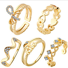 MISSING UAlloy Ring Midi Rings Daily five Pieces Ring 1set